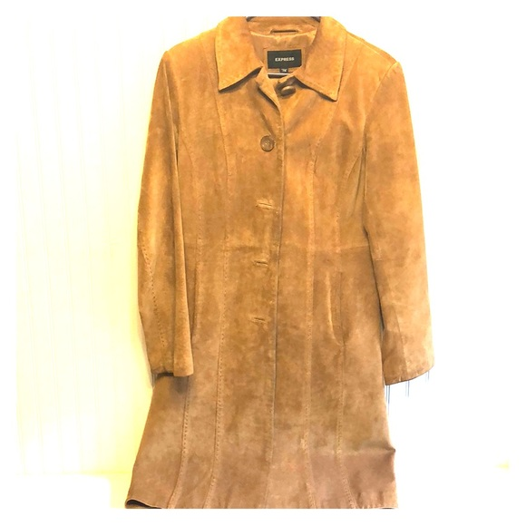 Express Jackets & Blazers - Camel/brown suede long coat by Express